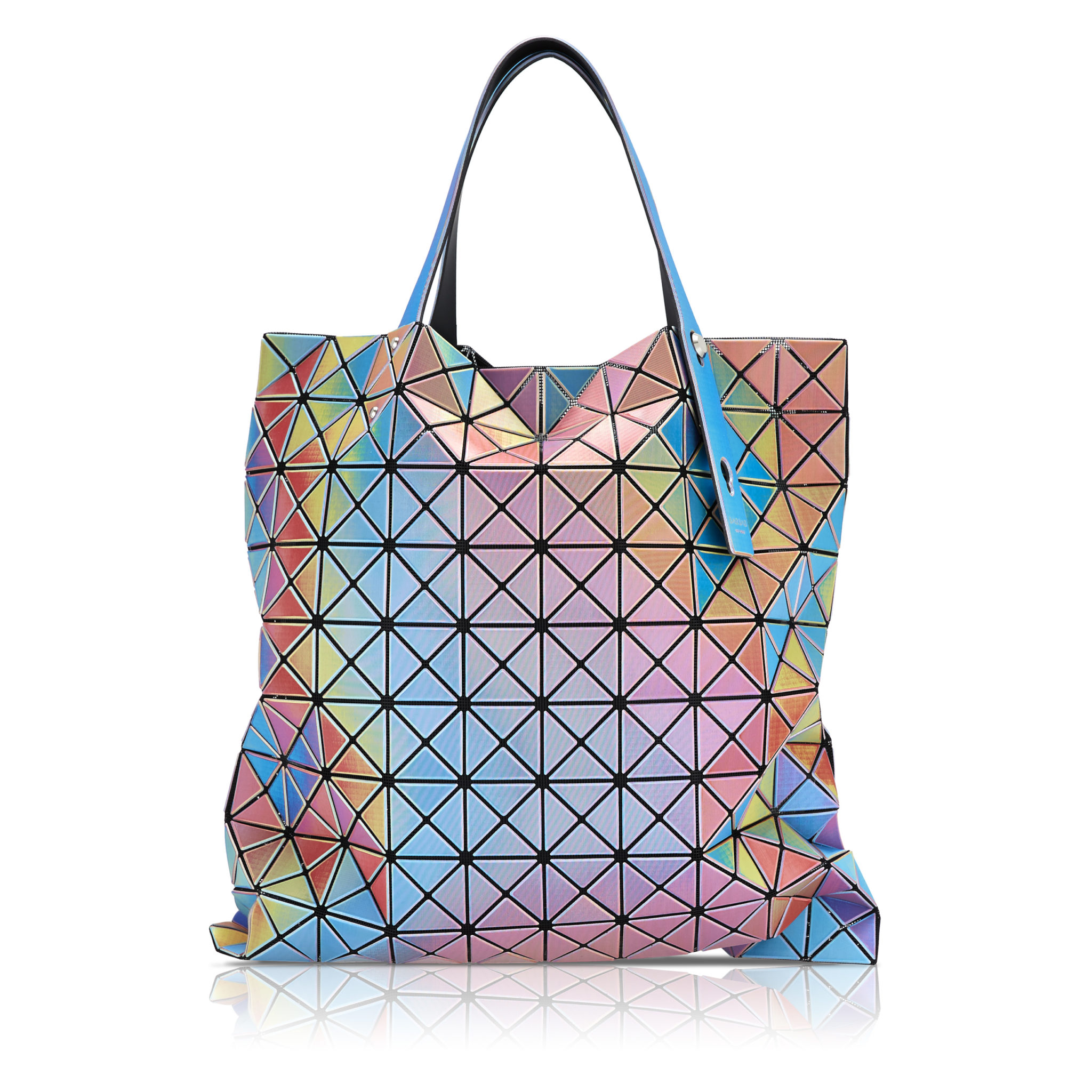 e-commerce product photograph of a tote bag on white with reflection