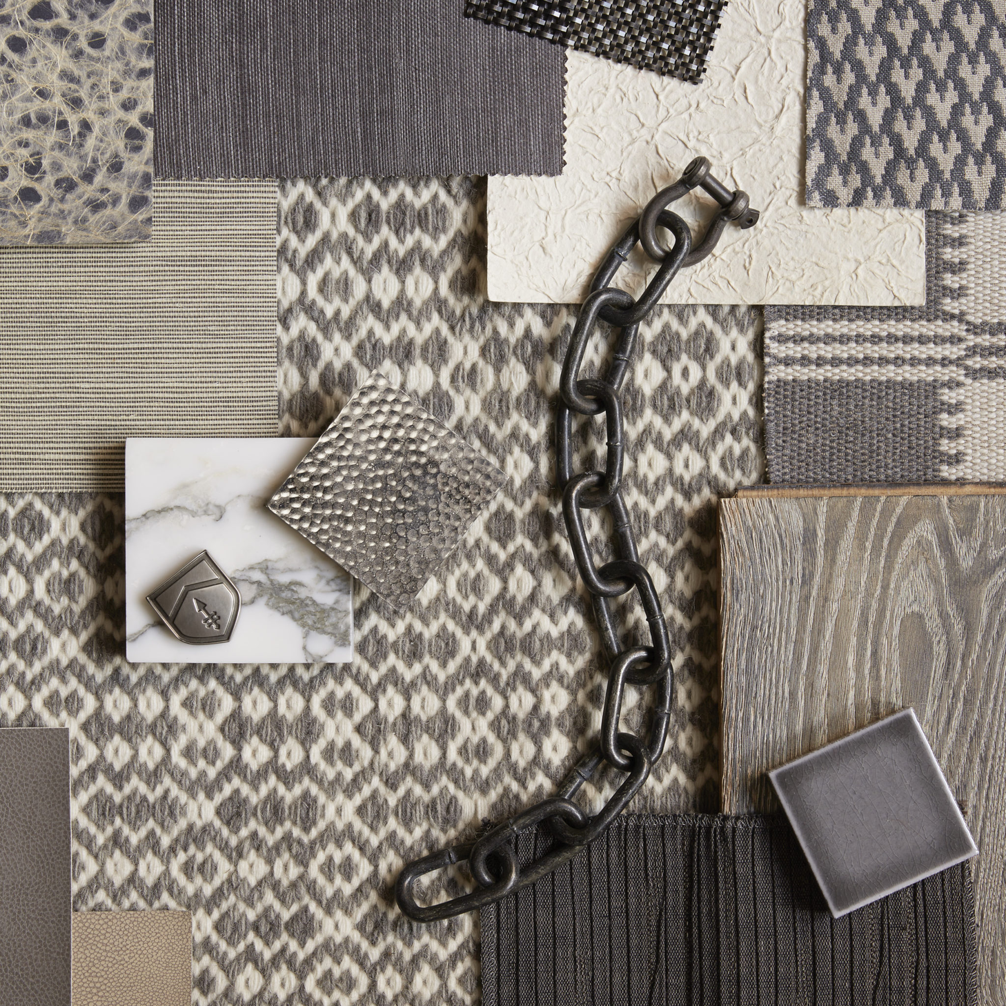 composition with interior design samples and swatches