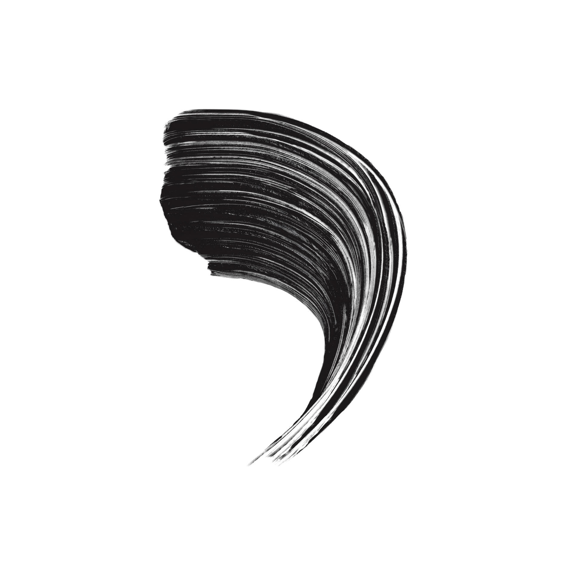 A curving swipe of black mascara showing the texture of the product and the payout style of the brush