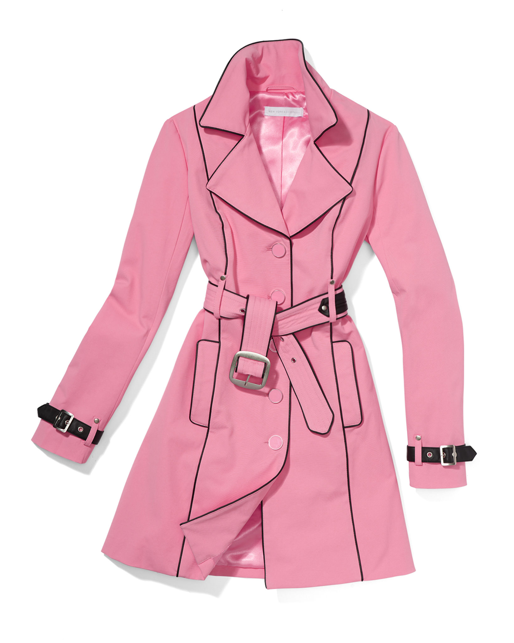 a product photograph of a pink trench coat with soft styling on white