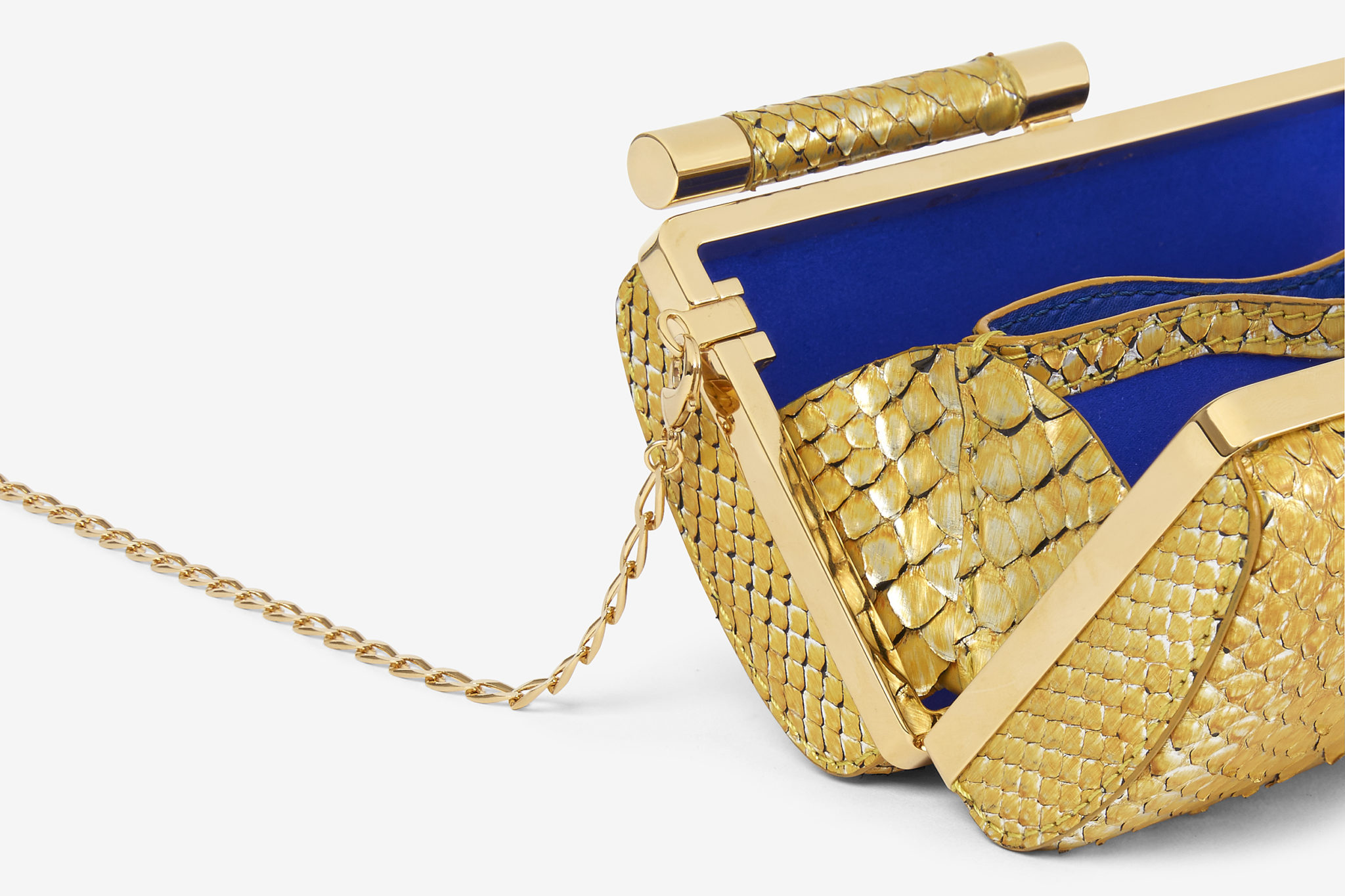 e-commerce product detail of yellow painted python clutch handbag
