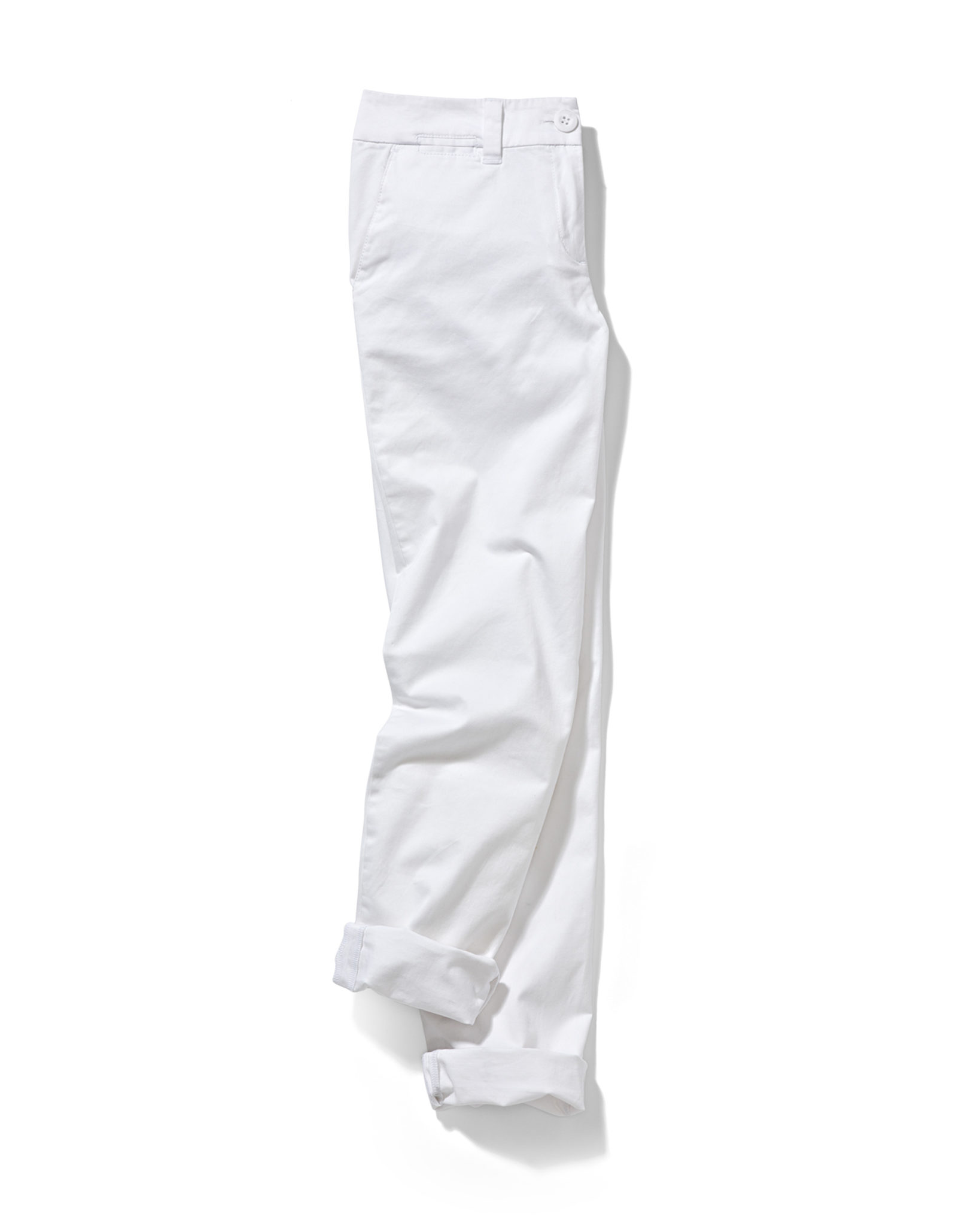 a marketing photograph of white pants with soft styling on white